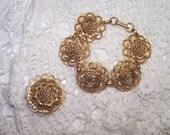 Vintage Demi Parure Jewelry Set Bracelet & Brooch Gold Tone Matching Flower VTG Pin Cocktail Filigree