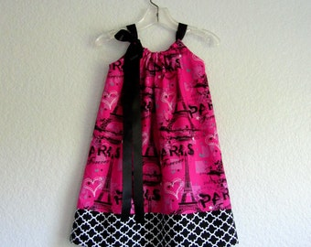 Girls Eiffel Tower Dress - Hot Pink with Black and White - Paris Inspired Dress - Size 12m, 18m, 2T, 3T, 4T, 5, 6, 8, or 10