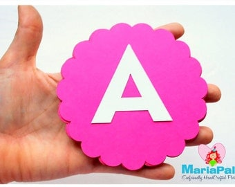 16 Scalloped Circles (4.0 inches), Choose your color - Do not include LETTERS A1000