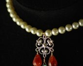 Children s Renaissance necklace- Glass pearls - Carnelian - Chalcedony - Gold plated findings - Colorful - Tudors - OOAK