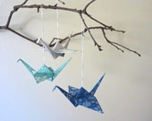 HOLIDAY SALE - Holiday Decor Origami Crane Ornament Christmas Decoration - Set of 3 - Peace Blue White Snowflakes Unique Winter