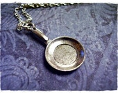 Silver Frying Pan Necklace - Antique Pewter Frying Pan Charm on a Delicate Silver Plated Cable Chain or Charm Only