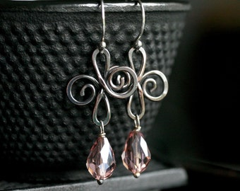 Pink copper swirl earrings, oxidized copper, light purple glass drop, lilac, sterling ear wires, dangle, Mimi Michele Jewelry