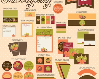 Thanksgiving PRINTABLE Party by Love The Day