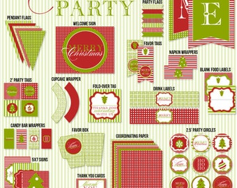 Traditional Christmas PRINTABLE Party (INSTANT DOWNLOAD) by Love The Day