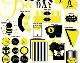 Custom Bee Party PRINTABLE Birthday Party from Love The Day