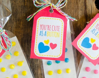 Valentine PRINTABLE 'You're Cute As A Button' Tag by LoveThe Day