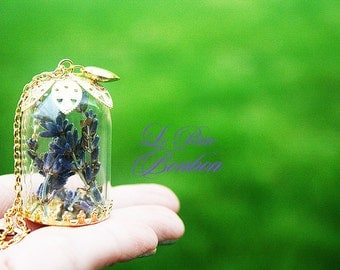 Real dried lavender flower in the Terrarium garden glass capsule necklace