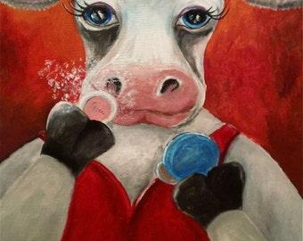 Powdered Milk, Whimsical Cow Art