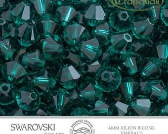 12 Swarovski 4mm Bicone - Emerald 5328 205 Advance Crystal Xilion Bicone