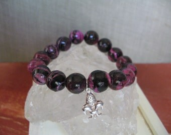 Bracelet: Pink and Black Howlite with Fleur de Lis Charm Funky Fun