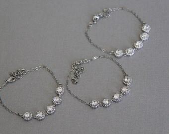 Set of 3 - 7 bridesmaid bracelet, cz bracelet, wedding jewelry, bridal jewelry, wedding bracelet, bridal bracelet, bridesmaid bracelet