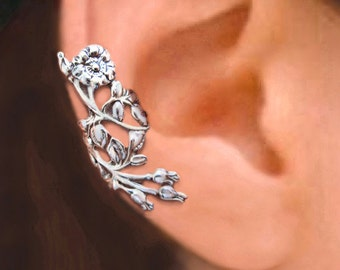 Wild Rose ear cuff ear cuff Sterling Silver earrings Rose jewelry Rose earrings Sterling silver ear cuff non pierced ear clip earcuff C-105