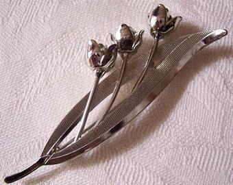 Rose Flower Pin Brooch Silver Tone Vintage Brushed Long Open Leaves