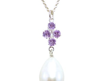 Principessa amethyst and freshwater pearl pendant on sterling silver chain