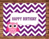 Chevron Owl Birthday Card