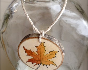 Wedding favor gift tag bottle tag ornament maple leaf hand painted on a natural maple branch slice