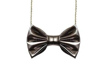 Gunmetal Grey- Bow Tie Necklace, Dark Silver Bowtie for Women, classic accessory