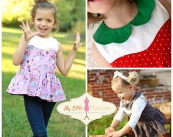 Cordelia Sweetheart Peplum Top, PDF Sewing Pattern, Instant Download, Girl Pattern