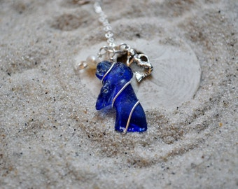 Cobalt Blue Seaglass and Mermaid Necklace - Sterling Silver with Freshwater Pearls