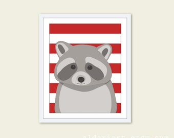 Raccoon Art Print - Nursery Wall Art - Woodland Nursery - Grey and Red Stripes