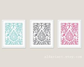 Damask Art Prints - Set of 3 - Blue Slate Pink - Damask Wall Art - Damask Art - Damask Decor - Aldari Art