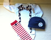 Reserved Listing for AGibson, Baby Sports Clothes, MLB, Baseball Tie Suspenders Outfit, Baseball Hat, Leg-warmers