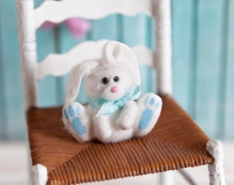 Fluffy Easter Bunny, Blue 1/12 scale dollhouse miniature