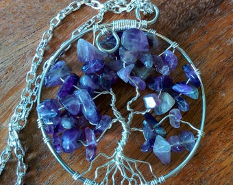 Amethyst and Silver Plate Tree of Life Pendant (with chain)