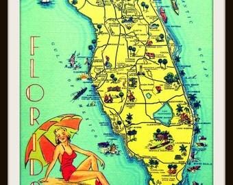 Map Art Print, SUNNY FLORIDA 8x10 retro Florida Art, Florida Gift, orange aqua red Vintage Florida beach lover gift mcm mid  century