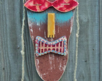 HIPPIE, Tiki Man, Wood Sculpture, Hippie Dude, Primitive Wall Hanging, Tiki Mask, Rustic Beach House