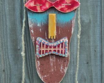 Tiki Man, Wood Sculpture, Hippie Dude, Primitive Wall Hanging, Tiki Mask, Rustic Beach House