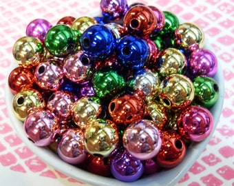 25x 12mm Multicolour Metallic Globe beads .. Christmas Bauble Beads