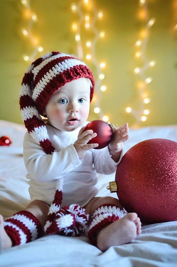 Baby Christmas Hat and Legwarmers, Baby's First Christmas, Baby Hat and Legging Set, Holiday Photo Prop, Christmas Photo Prop