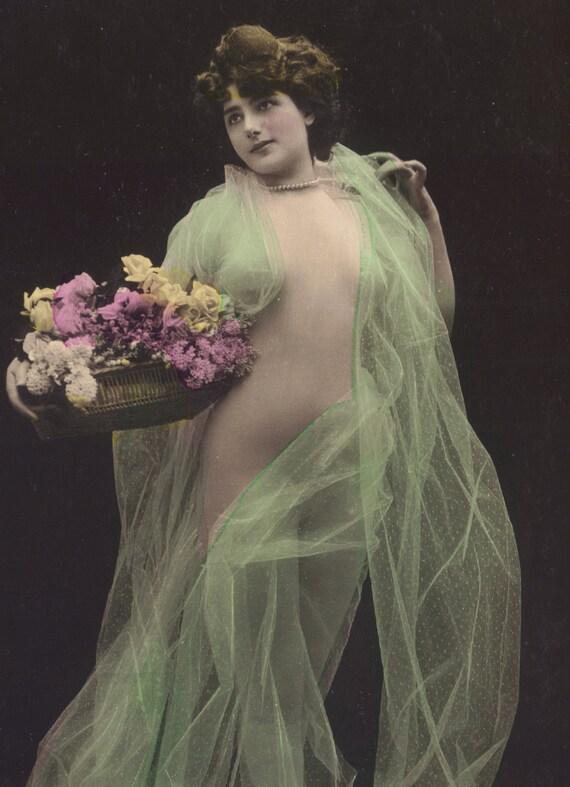 Faux Nude Carmen De Villers in Brilliant Green Veil, by Stebbing, circa 1905