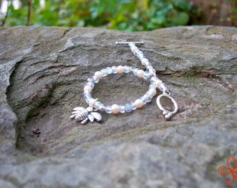 Bee Charm Bracelet (silver and white)