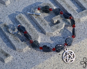 Black Leaf and Red Crystal Pentacle Bracelet