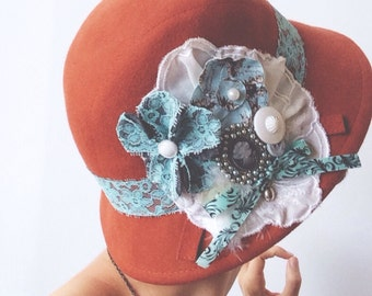 Burnt Orange and Baby Blue Cameo Cloche Hat Upcycled with Vintage Linens, Lace, and Handmade Eco-felt Flowers