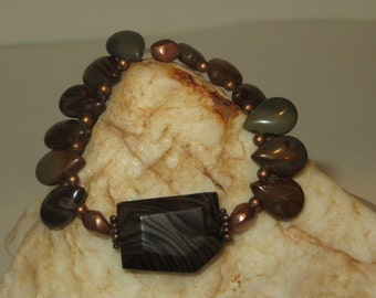 Capucchino Jasper Stretch Bracelet with Red Creek Jasper Teardrops, Copper Spacers and Findings