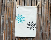 Flour Sack Tea Towel screenprinted Teal and Black Flowers