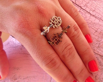 Skeleton Key Ring -:- Handmade Stacking Ring - Vintage Chain Band - Custom Made in Your Size