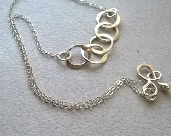 Sterling Silver Five Ring / Circle Necklace