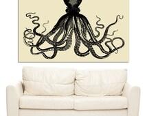 Octo - Pop Art Kraken Octopus Art Print - Ginormous Wall Art Poster - 40x60 - Custom Colors - Extra Large Poster - Huge Wall Art - AP1019