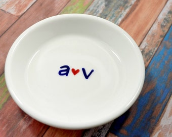 Ring Dish - Cute Little Lover's Initials Ring Holder- Perfect Gift For The Bride