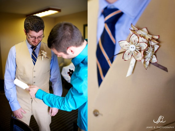 Paper Flower Grooms Boutonniere- wedding accessory, groomsmen, pin, wedding, handmade, origami, paper flowers