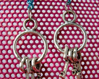Colorful Chain And Keys Earring Set