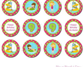 PRINTABLE Girl Waterpark Party Circles (Personalized) #598