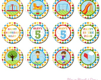 PRINTABLE Party in the Park Party Circles (Personalized) #567