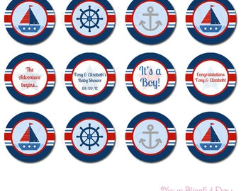 PRINTABLE Personalized Nautical Baby Shower Party Circles #207