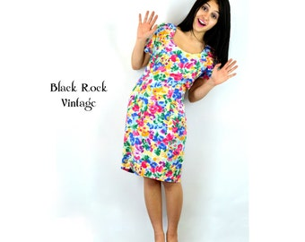Cut Out Back Floral Dress, Vintage 1980s Bright Colors, Women's Small